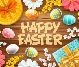 Easter wood background with gift vector