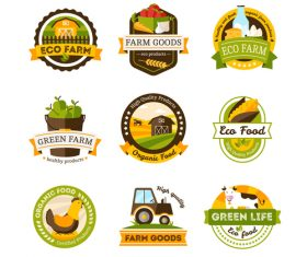 Eco farm labels vector design