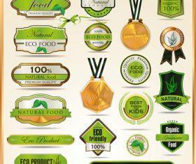 Eco food badge with labels design vectors set 01