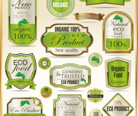 Eco food badge with labels design vectors set 02