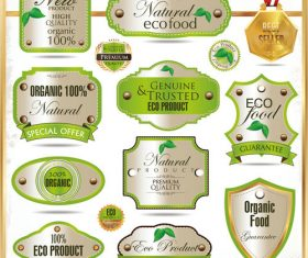 Eco food badge with labels design vectors set 03
