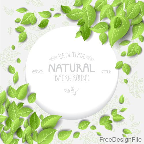 Eco style frame with gree leaves vector