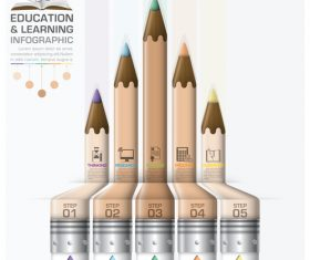 Education with learning infographic template vector 02