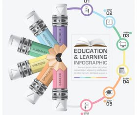Education with learning infographic template vector 03