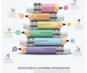 Education with learning infographic template vector 04