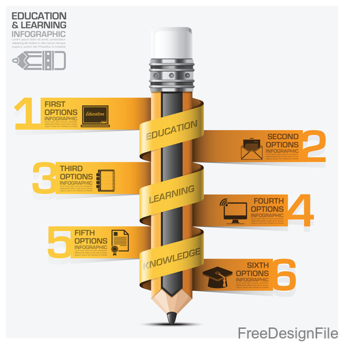 Education with learning infographic template vector 09