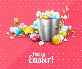 Eggs in bucket many pink vector 01