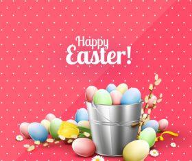 Eggs in bucket many pink vector 02