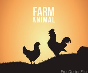 Farm chicken illustration vector