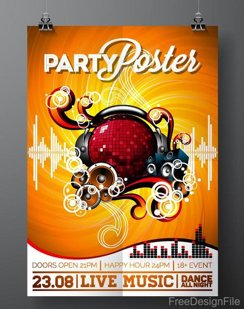 Fashion music poster template vector