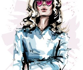 Fashion style girl sketch design vector 05