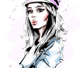 Fashion style girl sketch design vector 02