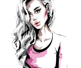 Fashion style girl sketch design vector 03