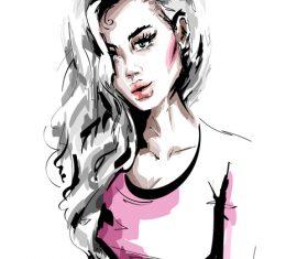 Fashion style girl sketch design vector 03