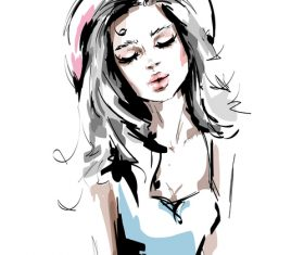 Fashion style girl sketch design vector 04