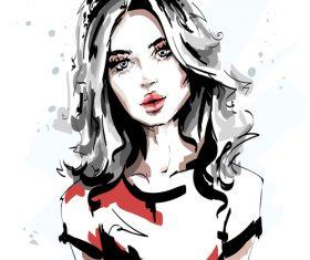 Fashion style girl sketch design vector 01