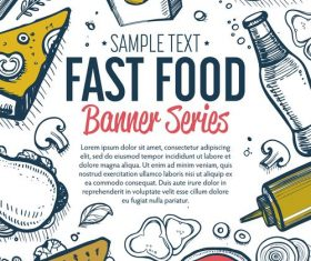 Fast food vertical banners vintage vector 01