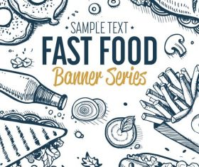 Fast food vertical banners vintage vector 02