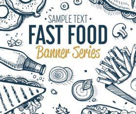 Fast food vertical banners vintage vector 02
