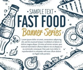Fast food vertical banners vintage vector 03