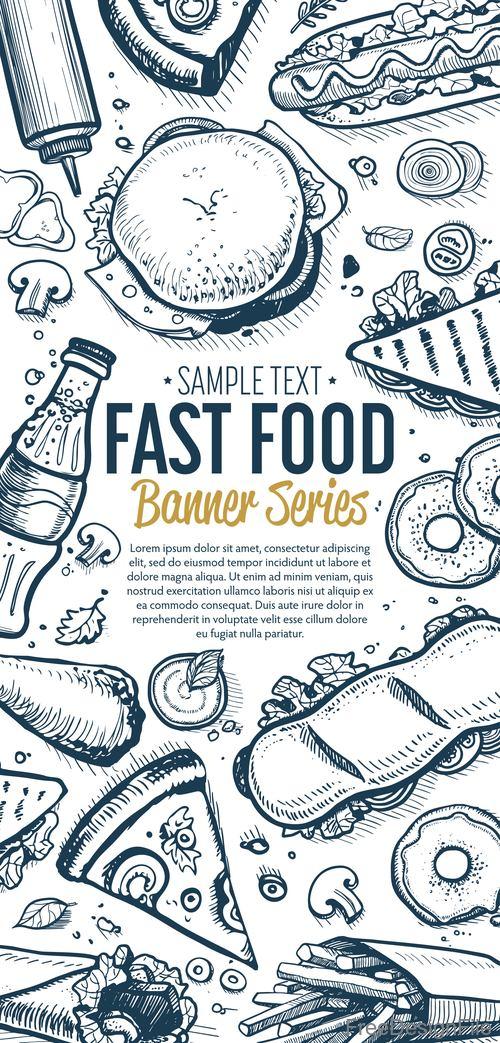 Fast food vertical banners vintage vector 03