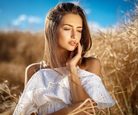 Female model with light makeup Stock Photo