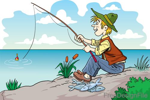 Fisherman cartoon character vector