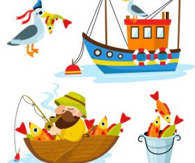 Fishing cartoon design elements vector 01