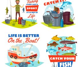 Fishing cartoon design elements vector 02