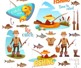 Fishing cartoon design elements vector 03