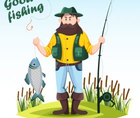Fishing cartoon funny vector design 01
