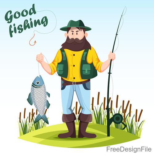 Fishing cartoon funny vector design 01