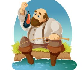 Fishing cartoon funny vector design 02