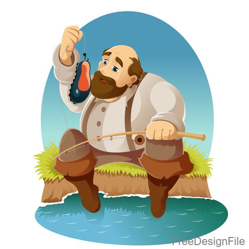 Fishing cartoon funny vector design 02