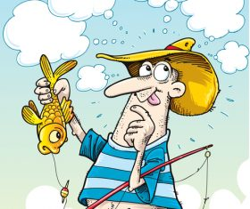 Fishing cartoon funny vector design 03