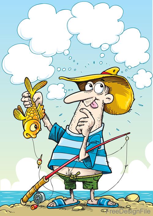 Fishing cartoon funny vector design 03