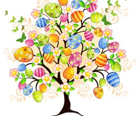 Floral tree with easter egg vectors