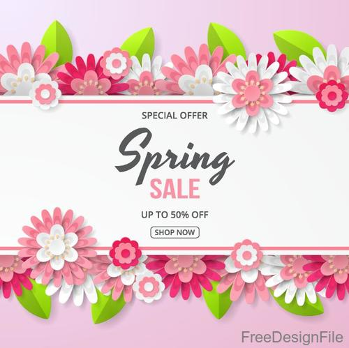 Flower border with sale special offer design vector