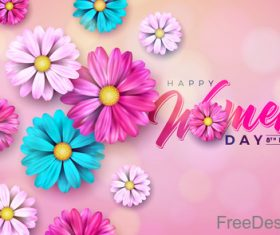 Flower with Woman Day card vectors 01