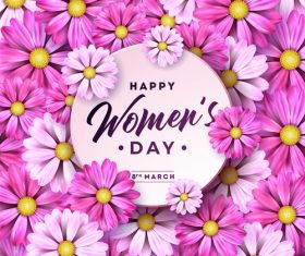 Flower with Woman Day card vectors 02