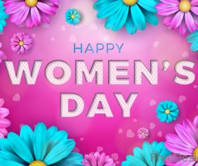 Flower with Woman Day card vectors 03