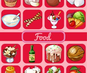 Food red icons vector set