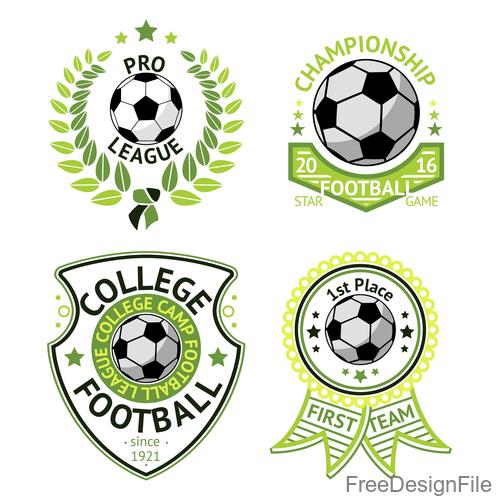 Football logos design vector set 01