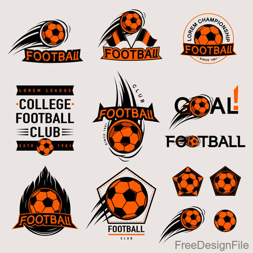 Football logos design vector set