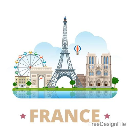 France travel elements design vector