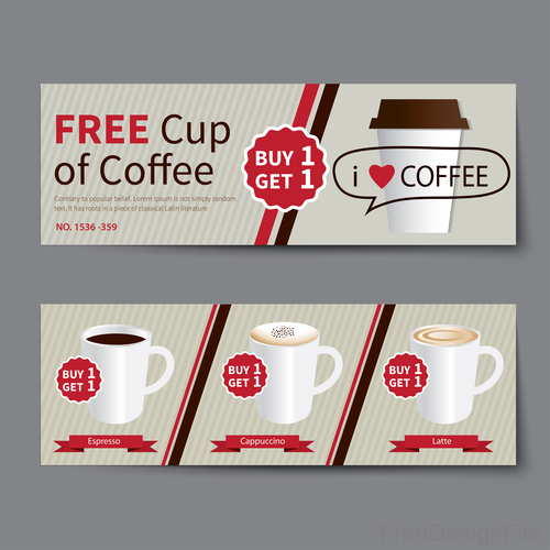Free cup of coffee coupon vector