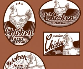 Fresh farm chicken stickers vector material