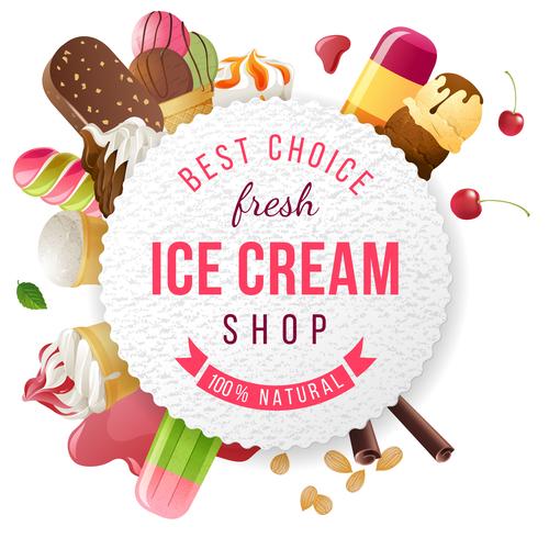 Fresh ice cream shop background vector