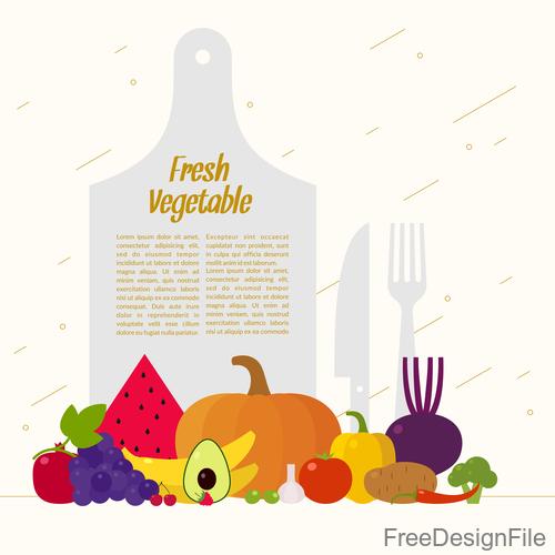 Fresh vegetable poster vector