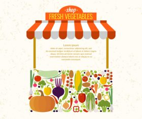 Fresh vegetable shop design vector